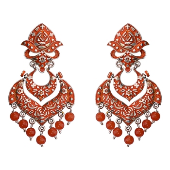 e5f16a5403aca Meenakari german silver plated double layer chaand bali brass jhumka  earring set