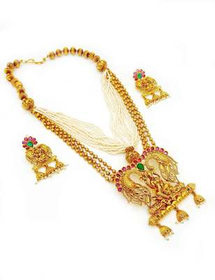 Ruby Red Temple Pendant Set Jewellery for Women