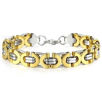 316L stainless steel gold and rhodium plated geometric mens boys bracelet