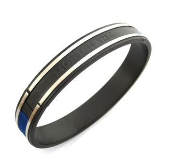 stainless steel twin black blue oval free size kada bracelet men