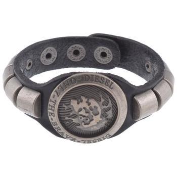 men biker black bullet strand leather bracelet strap free size