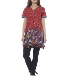 multicolor cotton printed stitched kurti