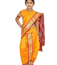 Buy Girls Stitched Traditional Nauwar(9Yard) Saree With Stitched Blouse kids-saree online