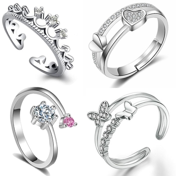 Combo of 4 Alluring Valentino special Finger Rings Combo with Crystal stones for girls and women