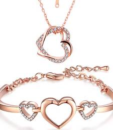 Rose Gold Plated Combo of Dual Heart Pendant and Heart Link Bracelet with crystal stones for girls and women