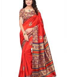 Buy Orange silk printed saree with blouse traditional-saree online