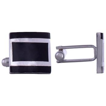 black silver lining square cufflink pair