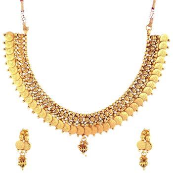 lakshmi coin gold plated temple antique necklace earring other set