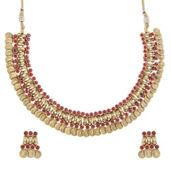 ruby red lakshmi gold coin temple antique necklace earring set