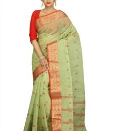 Buy Green hand woven cotton saree hand-woven-saree online