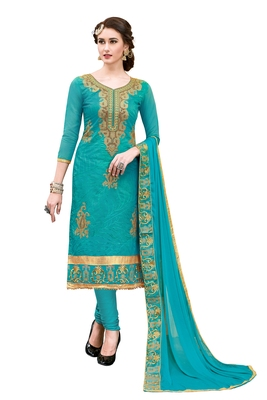 Turquoise embroidered chanderi salwar