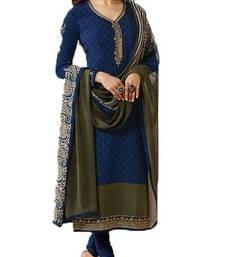 Buy Blue embroidered crepe salwar crepe-salwar-suit online