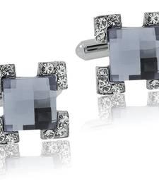 Formal Shirt Square Faceted Grey Stone CZ Rhodium Brass Cufflinks Pair Boys Men Valentine Gift Box