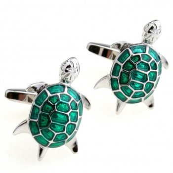 Green Turtle Tortoise Fengshui Good Luck Formal Shirt Brass Cufflinks Pair for Men Gift Box