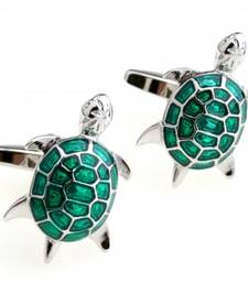 Buy Green Turtle Tortoise Fengshui Good Luck Formal Shirt Brass Cufflinks Pair for Men Gift Box cufflink online