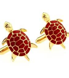 Red Turtle Tortoise Fengshui Good Luck Formal Shirt Brass Cufflinks Pair for Men Gift Box