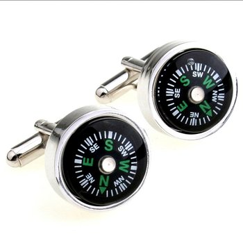 Black Round Compass Formal Shirt Brass Cufflinks Pair for Men Gift Box