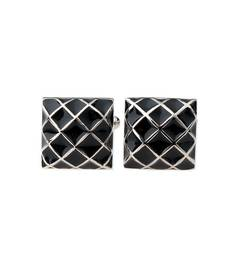 Black Square 3D Checks Formal Shirt Cufflinks Pair for Men Gift Box
