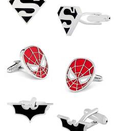 Batman Superman Spiderman Rhodium Plated Enamel Brass Black 3 Pair Of Cufflink Combo Boys Mens