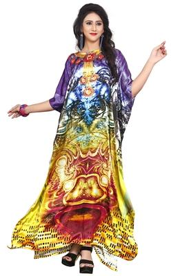 Multi Color Satin Silk 3D Digital Printed Beach Wear Kaftan