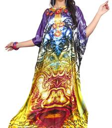 Multi Color Satin Silk 3D Digital Printed Beach Wear Kaftan