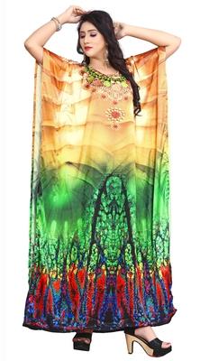 Multi Color Party Wear Digital Printed Kaftan