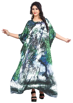 Multi Color Exclusive 3D Digital Printed Satin Silk Kaftan