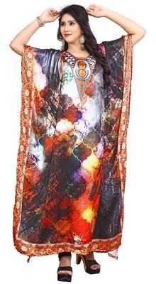 Multi Color Beach Party Wear Satin Silk Kaftan