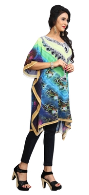 Multi Color Short Party Wear Digital Printed Kaftan