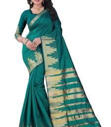 Buy Beige block print linen saree with blouse linen-saree online