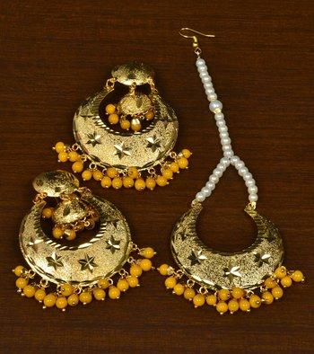 Gold Plated Beaded Self-Pattern Designer Dangler Earrings cum Tikka