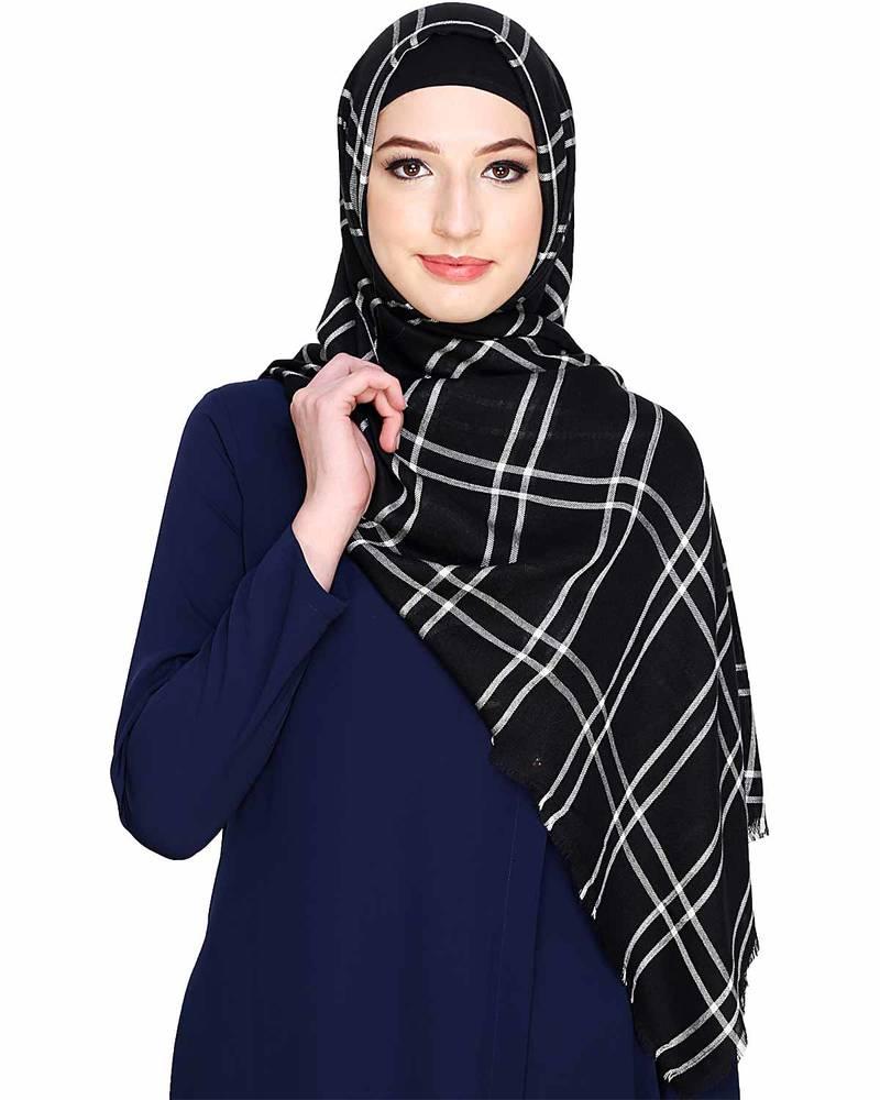 b04c80b736 Islamic Style Stole Daily Wear Arabian Checkered Black White Hijab ...