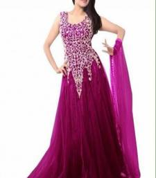 Buy Purple embroidered net party  wear gown party-wear-gown online