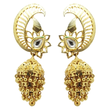 Gold cubic zirconia chandbali