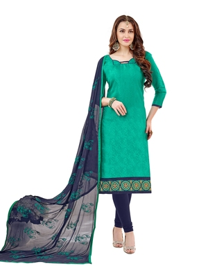 Turquoise embroidered cotton salwar
