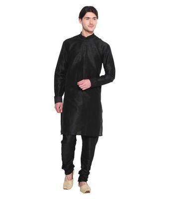 Black Silk Ethnic Indian Traditional Mens Festive Wear Kurta Pyjama