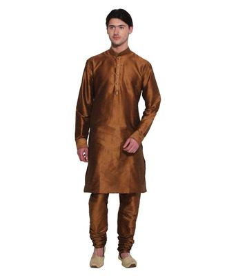 Browns Silk Ethnic Indian Traditional Mens Festive Wear Kurta Pyjama