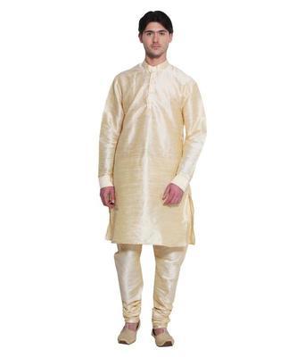 Glod Silk Ethnic Indian Traditional Mens Festive Wear Kurta Pyjama
