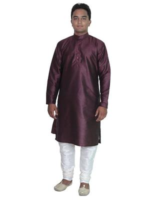 Violet Silk Ethnic Indian Traditional Mens Festive Wear Kurta Pyjama
