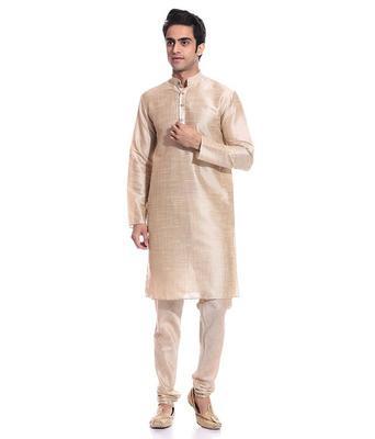 Golden Silk Ethnic Indian Traditional Mens Festive Wear Kurta Pyjama
