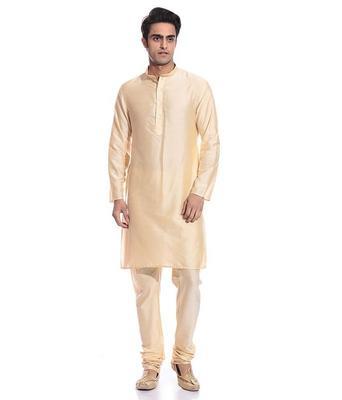 Gold Silk Ethnic Indian Traditional Mens Festive Wear Kurta Pyjama