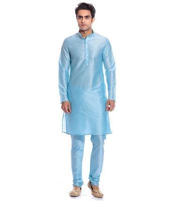 Blue Silk Ethnic Indian Traditional Mens Festive Wear Kurta Pyjama