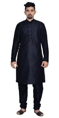 Black Silk Ethnic Indian Traditional Mens Festive Wear Kurta Pyjama
