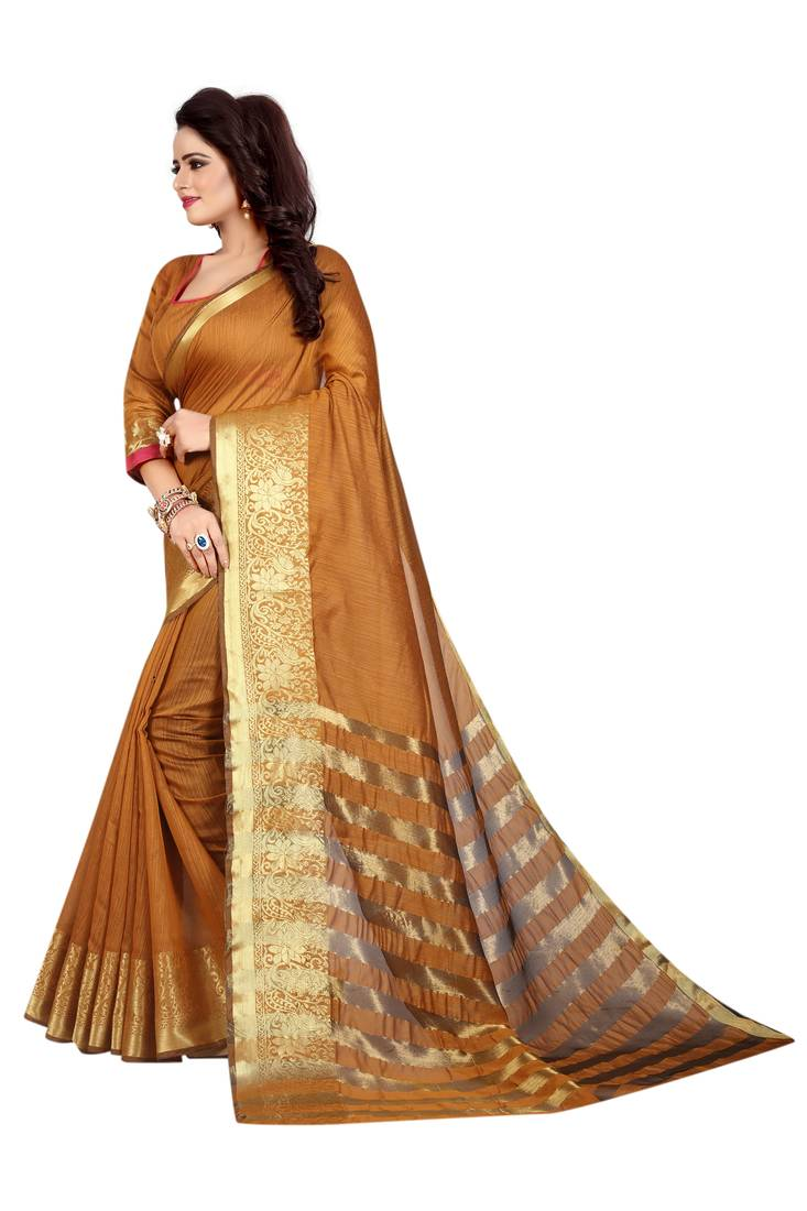 84988722c231b Dark yellow plain cotton silk saree with blouse - Capri Trend - 2534091