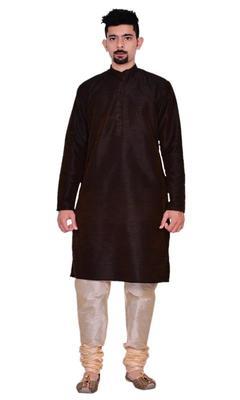 Brown Silk Ethnic Indian Traditional Mens Festive Wear Kurta Pyjama