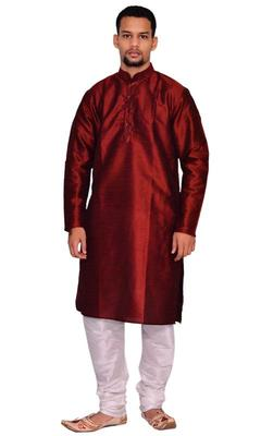 Maroon Silk Ethnic Indian Traditional Mens Festive Wear Kurta Pyjama
