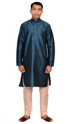 Green Silk Ethnic Indian Traditional Mens Festive Wear Kurta Pyjama