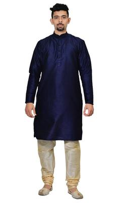 Blue Silk Ethnic Indian Traditional Mens Festive Wear Kurta Pyjama