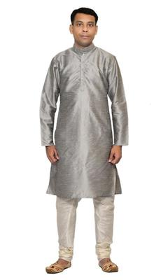Grey Silk Ethnic Indian Traditional Mens Festive Wear Kurta Pyjama