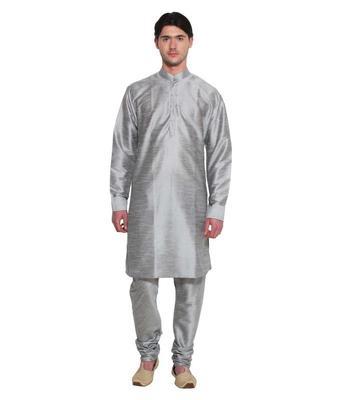 Grey Silk Ethnic Indian Traditional Mens Festive Wear Kurta Pyjama